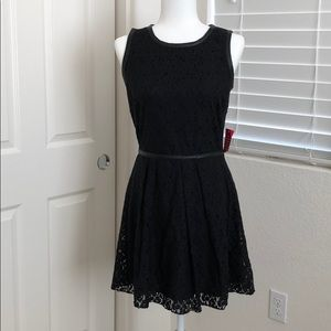 NWT Black Lace Skater Dress with Faux Leather Trim